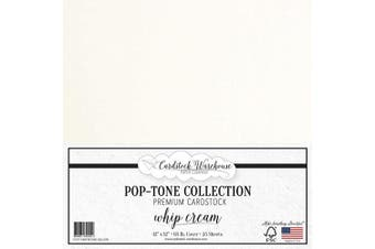 (Whip Cream) - Whip Cream Cardstock Paper - 30cm x 30cm 29kg. Premium Cover - 25 Sheets from Cardstock Warehouse
