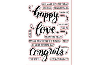 Love Happy Holidays Congrats Phrase Words Sentiments Greeting Cards Rubber Clear Stamp/Seal Scrapbook/Photo Decorative Card Making Clear Stamp