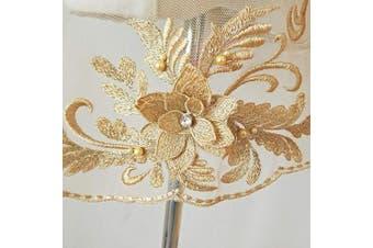 (Gold) - 3D Applique sew on Patches Bead 3D Flowers Sequin lace Trim Applique Motif Sewing Bridal Veil Wedding Dress 3in1 20cmx72cm (Gold)