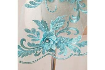 (Aqua Blue) - 3D Beaded Flower Sequence lace Applique Motif Sewing Bridal Wedding 3in1 20cmx72cm (Aqua Blue)