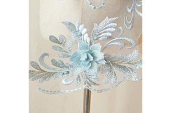 (Pale Blue) - 3D beaded flower sequence lace applique motif sewing bridal wedding 3in1 20cmx72cm (Pale Blue)