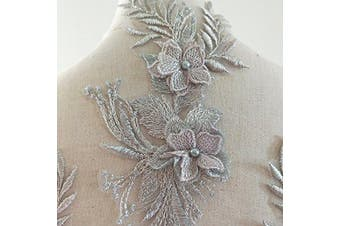 (Silver) - Beaded Flower Sequence lace Applique Motif Sewing Bridal Wedding 3in1 A5 3D (Silver)