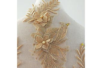 (Gold) - beaded flower sequence lace applique motif sewing bridal wedding 3in1 A5 3D (Gold)