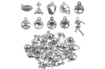 Ball Games Sports Charms, 30 Pieces Mixed Alloy Sport Theme Baseball Football Basketball Craft Charms Pendants Jewellery Findings Making Accessory for DIY Necklace Bracelet Earring - 10 Styles