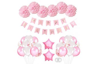 First Birthday Decorations Girls Pink, Happy Birthday Banner Balloons Set with Pink Balloons and Tissue Paper Pompoms for Girl Girlfriend Daughter Women 1st 2nd 3rd 16th 18th 21st 25 30th 50 60th
