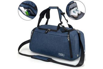 (A-Blue) - BonClare Sports Duffle Bag with Shoes Compartment and Wet Pocket, 42L Waterproof Gym Bag for Men and Women, Durable Travel Duffel Bag with Shoulder Strap and Combination Lock