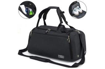 (A-Black) - BonClare Sports Duffle Bag with Shoes Compartment and Wet Pocket, 42L Waterproof Gym Bag for Men and Women, Durable Travel Duffel Bag with Shoulder Strap and Combination Lock