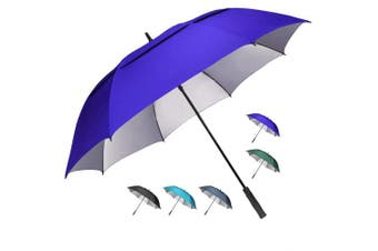 (160cm , Sapphire) - G4Free 54/2.3cm Extra Large Windproof Golf Umbrella UV Protection Automatic Open Double Canopy Vented Sun Rain Umbrella Waterproof Oversize Stick Umbrellas for Men Women