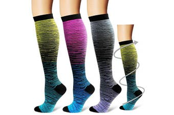(Large/X-Large, Assorted2) - Bluemaple Compression Socks for Women & Men - Best for Running, Athletic Sports, Crossfit, Flight Travel -Maternity Pregnancy, Shin Splints - Below Knee High