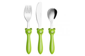 (Frog X 3) - Exzact Children's Cutlery Stainless Steel 3pcs Set/Kids Cutlery/Toddler Utensils/Flatware - 1 x Fork, 1 x Safe Dinner Knife, 1 x Dinner Spoon (Frog x 3)