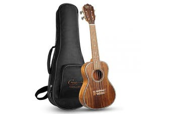 (Concert, Koa) - Hricane Concert Ukulele 60cm UKK-2 Koa Wood Ukuleles Inlay Pearl Smooth Clear Tone with Ukulele Bag and Ukele String Set