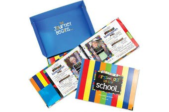 (Primary Stripes for Boys) - School Memory Book Keepsake Album w/Pockets, Photo Pages, Gift Box, Preschool Thru College, (Class Keeper - Primary Stripes)