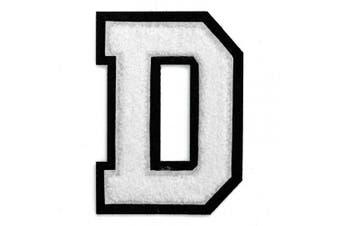 (D, White) - Letter D - 5.1cm - 1.3cm Chenille Stitch Varsity Iron-On Patch by pc, TR-12154 (White)