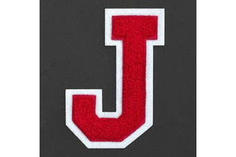 (J, Red) - Letter J - 5.1cm - 1.3cm Chenille Stitch Varsity Iron-On Patch by pc, TR-12154 (Red)