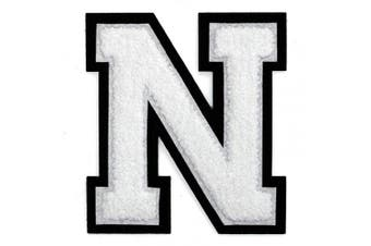 (N, White) - Letter N - 5.1cm - 1.3cm Chenille Stitch Varsity Iron-On Patch by pc, TR-12154 (White)