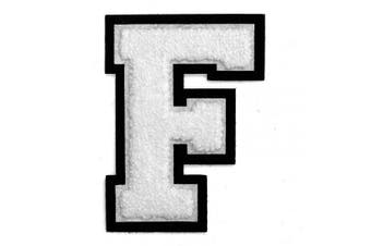 (F, White) - Letter F - 5.1cm - 1.3cm Chenille Stitch Varsity Iron-On Patch by pc, TR-12154 (White)