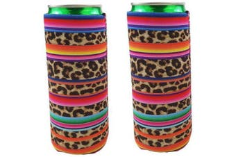 (Rainbow-Leopard) - 2pcs Neoprene Slim Beer Can Cooler Tall Stubby Holder Foldable Stubby Holders Beer Cooler Bags Fits 350ml Slim Energy Drink & Beer (Rainbow-Leopard)