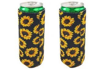 (Sunflower) - 2pcs Neoprene Slim Beer Can Cooler Tall Stubby Holder Foldable Stubby Holders Beer Cooler Bags Fits 350ml Slim Energy Drink & Beer (Sunflower)