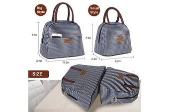 (Dark Blue White Strip,Small Size) - Buringer Reusable Insulated Lunch Bag Cooler Tote Box with Front Pocket Zipper Closure for Woman Man Work Picnic or Travel (Dark Blue White Strip,Small Size)