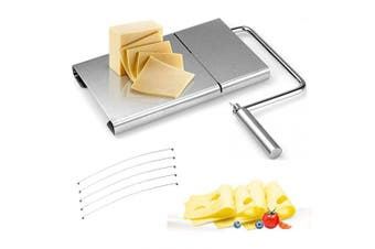 Sinzau Cheese Slicer Stainless Steel Wire Cutter for Hard and Semi Hard Cheese Butter Sausage, 5 Wires Included