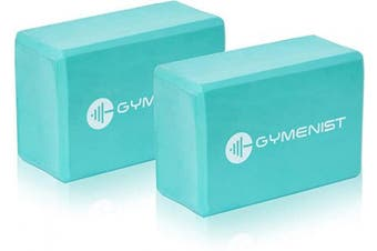 "(7.6cm  x 15cm x 9"" (Single), Teal) - GYMENIST Yoga Blocks, High Density EVA Foam Block, Provides Support and Deepen Poses, Improves Strength,Balance and Flexibility, Ideal for Workout, Fitness & Gym"