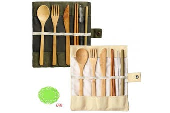 (2 Set(Army green+Beige)) - nuoshen 2 Set Bamboo Cutlery Set, Bamboo Travel Utensils Include Knife Fork Spoon Chopsticks Straws
