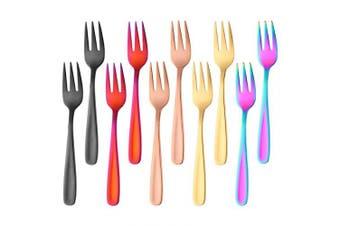 Stainless Steel Dessert Fork,Fruit Fork,Pastry Fork,Bisda Colourful Table Forks Set of 10 Ideal for Salad Cake Meat 14cm