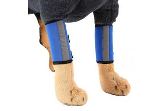 (M, Blue) - 1 Pair Reflective Tape Elbow Protectors, Dog Front Leg Braces Pet Knee Pads Dog Elbow Protector Help with Injuries Sprains and Loss of Stability Caused by Arthritis(M, Blue)