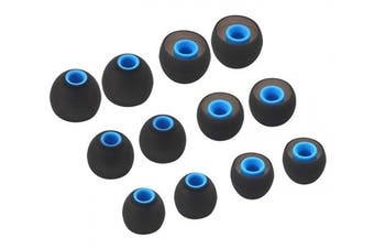 (SML, black blue) - IiEXCEL Earbuds for Senso, S/M/L 3 Size 6 Pairs Silicone Eartips Eargels Ear Tips Buds Gels for LETSCOM, Senso, TOZO, Mpow, Otium, Hussar, Letsfit etc 3.8mm in-Ear Headphones - Black Blue
