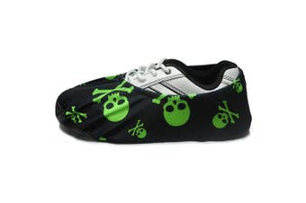 (X-Large: Fits Mens Size 10-15, Lime Green Skulls) - bowlingball.com Premium Bowling Shoe Protector Covers