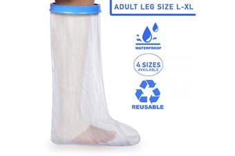 (Adult Size L-XL) - Adult Leg Waterproof Plaster Cast & Dressing Cover | Protector | Leg Sleeve | Also for Bandages & Plasters | Protection During Shower & Bath | Latex Free | Reusable | Size L-XL