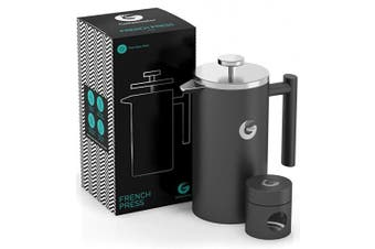 (Gray, 1010ml) - Large French Press Coffee Maker - Vacuum Insulated Stainless Steel (Grey, 1010ml)