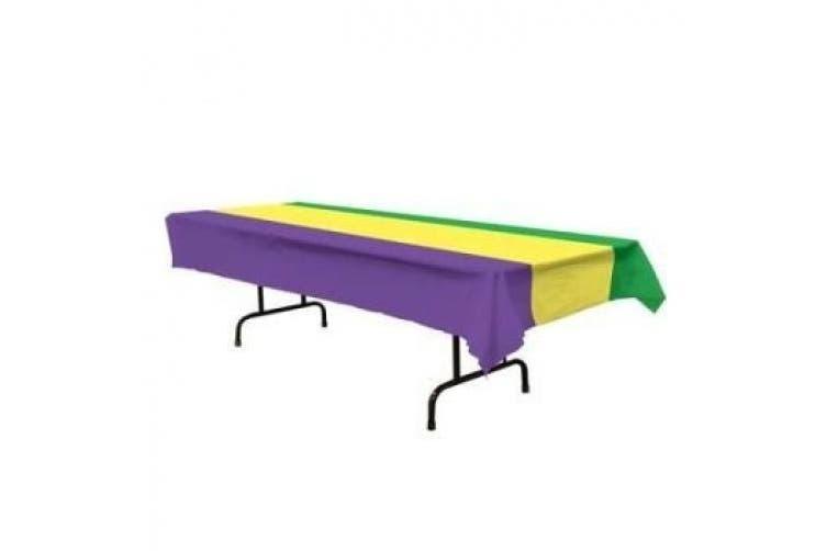 Mardi Gras Plastic Tablecloth 140cm x 270cm 6 Per Pack