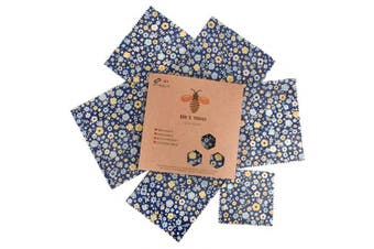 (Blue (Flower Pattern)) - Beeswax Wraps Set of 6 by Bee's Trend | All Natural Food Storage | Zero Waste Cheese and Sandwich Wrappers | Washable Bowl Covers