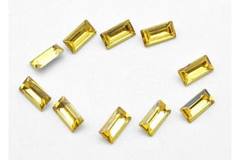 (5x10mm, yellow) - Catotrem Baguette Rhinestone Rectangle Pointback Crystal Glass Stone Silver Plated for Nails Art Jewellery Making(5x10mm) Yellow