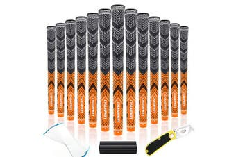 (Standard, Orange(Includes 15 Tapes)) - Champkey Victor Hybrid Golf Grips Set of 13(150ml Solvent,Hook Blade,15 Tapes & Vise Clamp Available)-Choose Between 13 Grips & All Repair Kits and 13 Grips & 15 Tapes