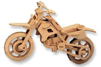3-D Wooden Puzzle - Cross-Country Motorcycle -Affordable Gift for your Little One! Item #DCHI-WPZ-P022