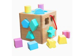 (Sky Blue) - Babe Rock Shape Sorter Toddler Toys . Boys Girls Classic Wooden Toy Cube Activity Centre Colour Recognition Shape Sorting Montessori Toys for Babies (Sky Blue)