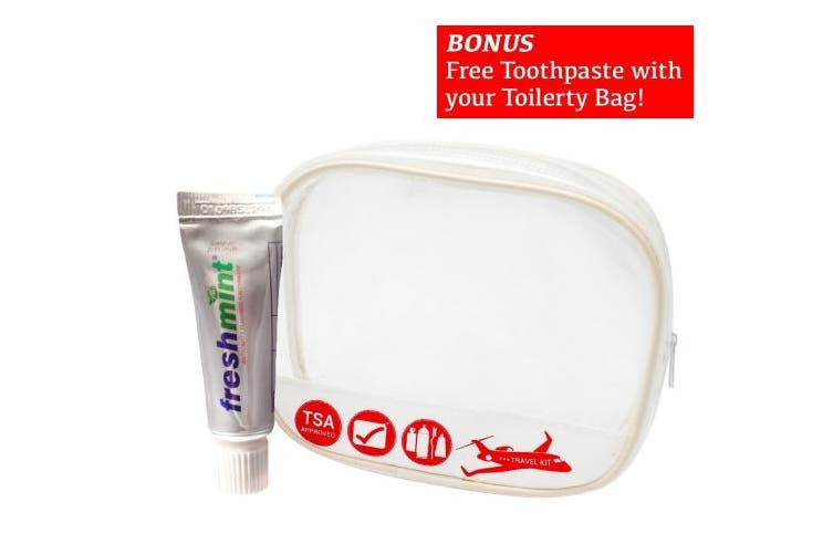 Travel Size TSA Approved Toiletry Bag for Men and Women - Small Lightweight & Waterproof Transparent Plastic Accessory Personal Organiser - Durable Zipper and Material Double as Cosmetic Makeup Pouch