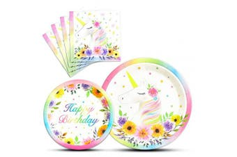 (Pink) - WERNNSAI Unicorn Birthday Party Supplies for Girls - 48PCS Plates and Napkins Unicorn Theme Disposable Tableware Set for Luncheon Dinner Dessert (Serves 16 Guests)