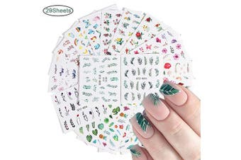 (Nail 13) - Macute Nail Stickers for Women Nail Art Accessories Decals 29 Sheets Fresh Nail Art Stickers Water Transfer Butterfly Leaf Flamingo Flower Nail Stickers for Fingernails Decor Manicure Decorations