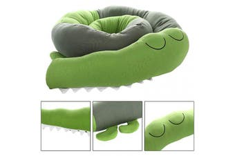 (185CM, Green) - Cot Bumper, Cot Cushion, Crocodile Style Baby Cot Bumper Bumper Bumper for Baby Cot, Blanket Cushion, Cot Bumper 185 cm Length