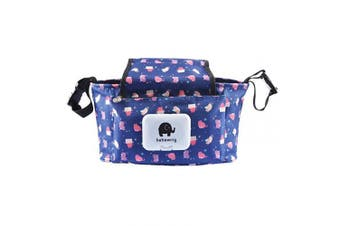 (A-Blue) - Baby Buggy Organiser Bag, TOYESS Waterproof Stroller Organiser Bag with Pram Cup Holder and Large Compartment, Blue