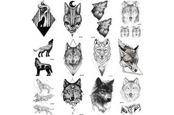 COKTAK 12 Pieces/Lot Realistic 3D Wolf Temporary Tattoos Stickers For Men Black Body Art Arm Tribal King Coyote Totem Fake Waterproof Tattoos Forest Women Sexy Tatoos Sheet Paste 10x6CM