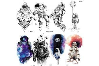 COKTAK 8 Pieces/Lot 3D Watercolour Blue Astronaut Cartoon Kids Temporary Tattoos For Children Cute Space Man Children Tattoo Sticker Women Girls Boys Body Art