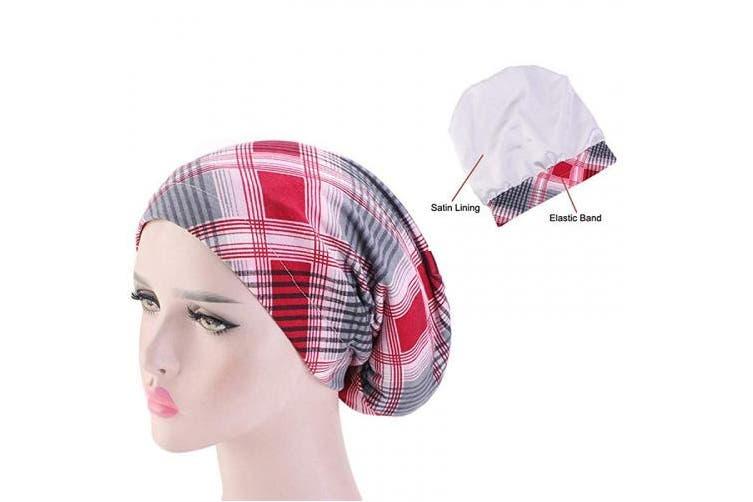 (One Size, Wine Red/Grid Stripe) - Women Sleep Bonnet Cap ElasticTurban Night Sleep Hair Loss Hats (One Size, Wine Red/Grid Stripe)