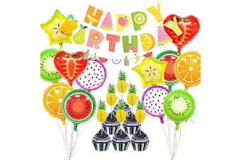 Fruit Themed Birthday Party Decorations Supplies,Fruits HAPPY BIRTHDAY Banner Garland Aluminium Foil Fruit Balloons Pineapple Cupcake Toppers for Baby Shower Kids Summer Birthday Party Bedroom Decor