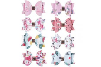 (haxy-13) - CN Girls Leather Hair Bow Printed Pattern Boutique Clips Mermaid Watermelon Cactus Hair Accessories Set Of 8