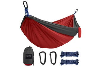 (Small, Grey/Red) - Kootek Camping Hammock Portable Indoor Outdoor Tree Hammock with 2 Hanging Straps, Lightweight Nylon Parachute Hammocks for Backpacking, Travel, Beach, Backyard, Hiking