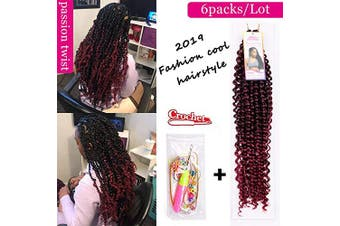 (1B/BUG) - 6Pcs Passion Twist Ombre Burgundy Synthetic Hair for Black Women Andromeda 46cm Soft Long Braids Passion Twist Crochet Braiding Hair Extensions with 5 Free Gift (1B/BUG)